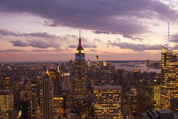 Fototapete - Sunset over New York City Skyscrapers