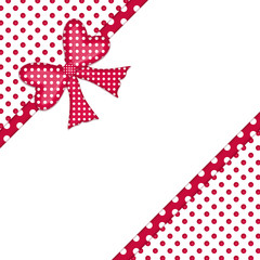 Red polka dot gift bow and ribbon corner border