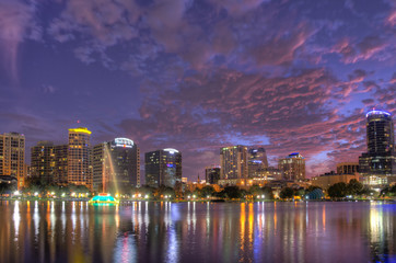 Orlando Skyline from Lake Eola at Twilight