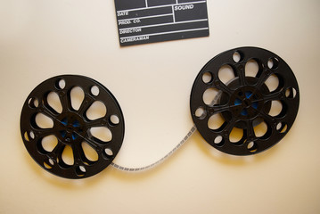 Two retro motion picture film reels