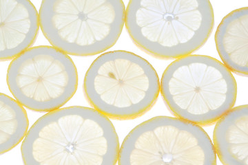 Group lemon slices close to the light.