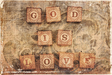 """""""God is Love"""" Grunge Religious Background"""