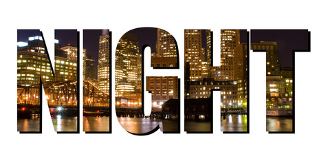 "The word ""Night"" cut out of a city picture at night"