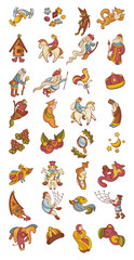set of fairytale characters and items