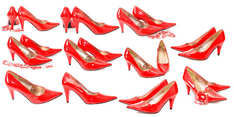 set red shoes, isolated.
