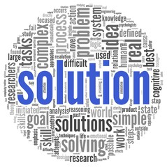 Solution in word tag cloud on white