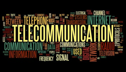 Telecommunication concept in word tag cloud