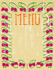 vintage menu card, arts and craft style, vector