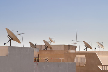 Satellite dishes on rooftop in Tunisia