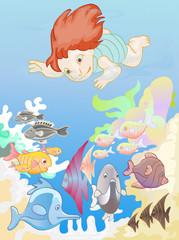 Little boy diving