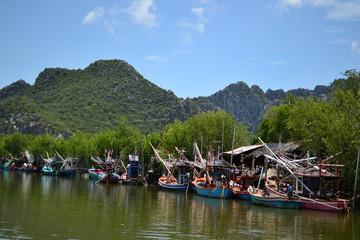 Fishing Boats in blue sky
