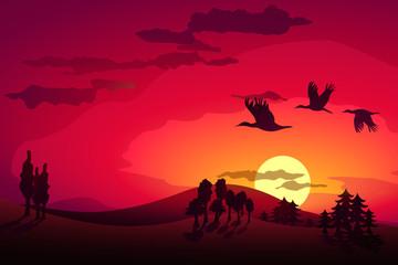 Sunset landscape and flying storks