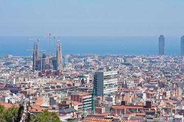 Panoramic view of Barcelona city, Spain.