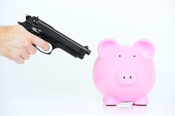 pink piggy and gun