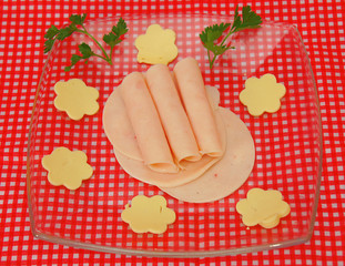 salami and cheese in flower shape