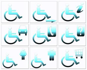 Handicap symbol, disabled icon set