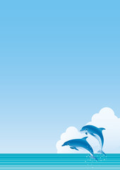 Fond de hotte en verre imprimé Dauphins 海 イルカジャンプ たて