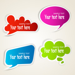 Set of colorful speech bubble paper stickers