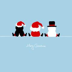 Santa, Penguin & Snowman Blue