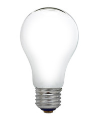 empty electric light bulb on a white background