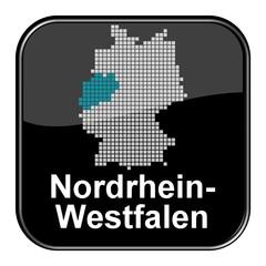 Poster Pixel Glossy Button - Deutschlandkarte: Bundesland Nordrhein-Westfalen