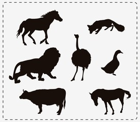 set of seven animals
