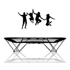 Fototapete - silhouette of kids on trampoline