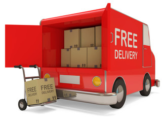 Delivery Van and Hand truck with a box on white background