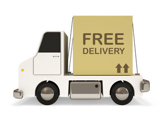 White Delivery Van with Carton Box on white background