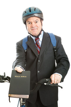 Stock Photo of Christian Bicycle Missionary