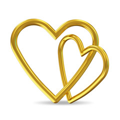 Golden Hearts on white background