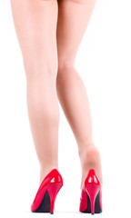 Sexy woman's legs with fashion shoe isolated