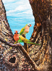 parrots on the branch