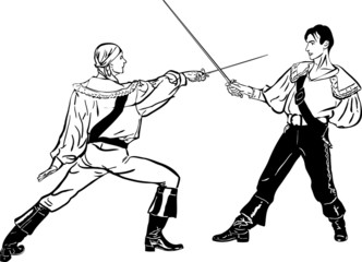 a sketch of steam of fencers battle on a duel