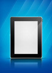 Tablet pc on blue background