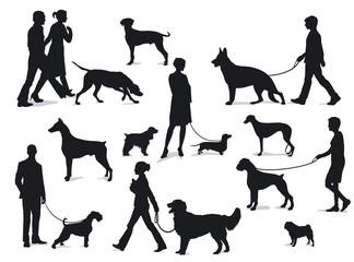 Spazierengehen mit Hunden