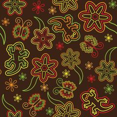 Seamless retro flower butterfly lizard pattern