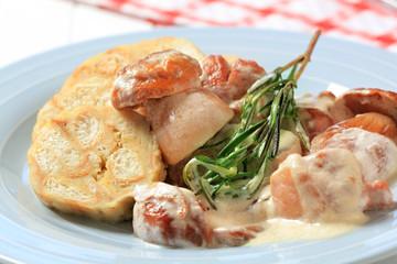 Porcini mushrooms in cream sauce and dumplings
