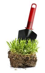 Garden turf and trowel