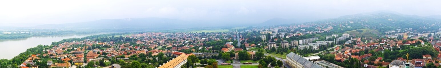 Huge panoramic of Esztergom and the Danube River in Hungary.