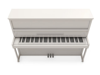 White Classic Piano isolated on white background