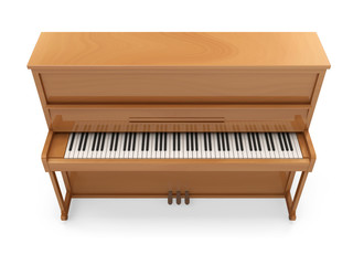 Wooden Classic Piano isolated on white background