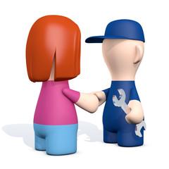 Hand check - Handwerker und Frau