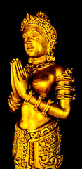 Gold angel Image in Buddhist temple at Thailand.