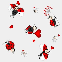 Poster Ladybugs seamless pattern with cute ladybird - vector