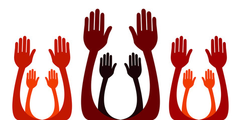 Reaching hands vector.