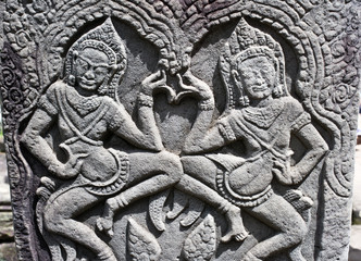 Apsara Dancers Carved on Bayon Temple, Angkor, Cambodia