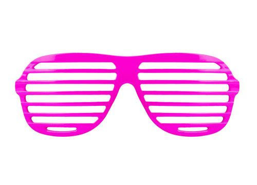 Retro pink  shades sunglasses isolated on white background