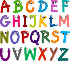 Naklejka premium Śmieszne wielkie litery alfabetu
