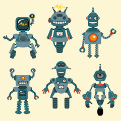 Poster Robots Cute little Robots Collection - in vector - set 1